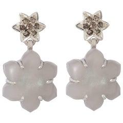 Emma Chapman Grey Moonstone Diamond Silver Earrings