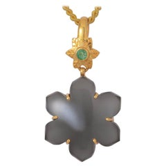 Black Moonstone Emerald Gold Plate Pendant