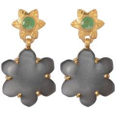 Black Moonstone Emerald Gold Plate Earrings