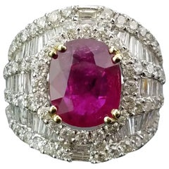 3.58 Carat Oval Ruby and Diamond Cocktail Ring