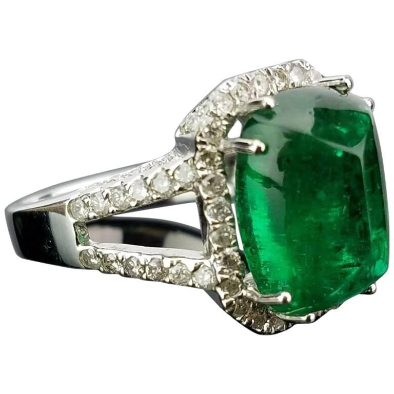 8.62 Carat Sugarloaf Emerald and Diamond Cocktail Ring