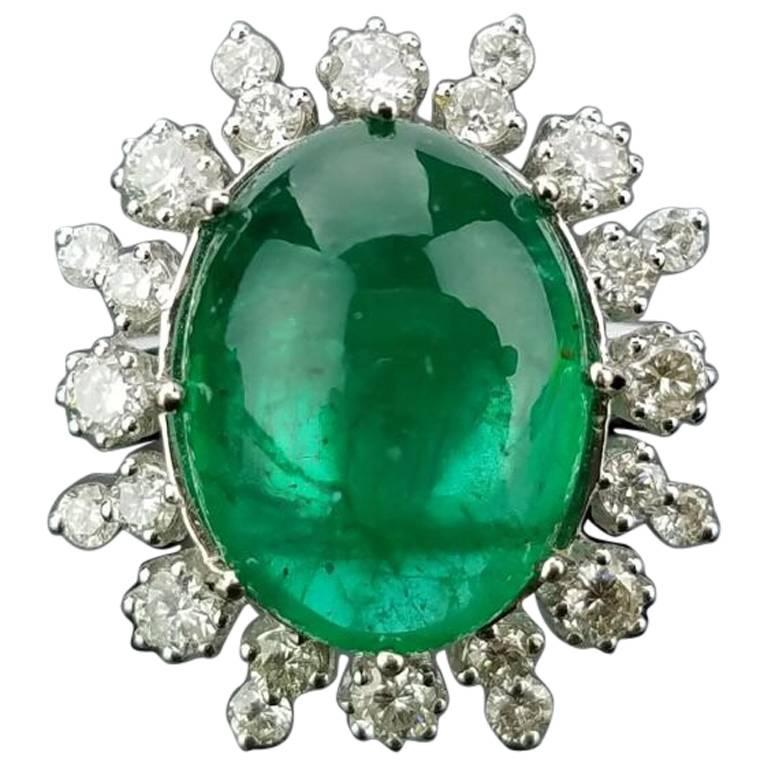 12 Carat Cabochon Emerald and Diamond Cocktail Ring
