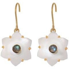 Emma Chapman White Moonstone Labradorite Gold Plate Earrings
