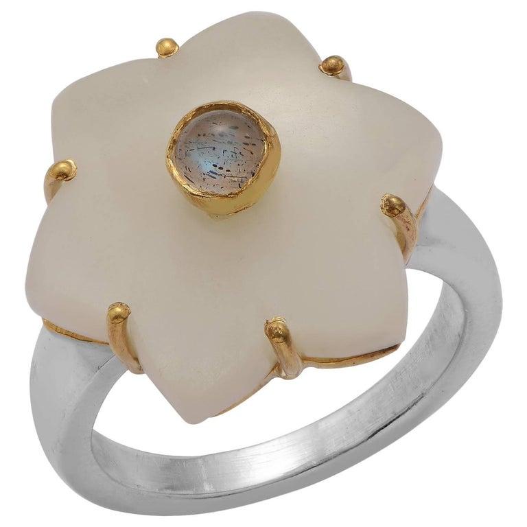 Emma Chapman White Moonstone Labradorite Gold Plate Ring