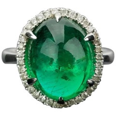 7.46 Carat Cabochon Emerald and Diamond Ring