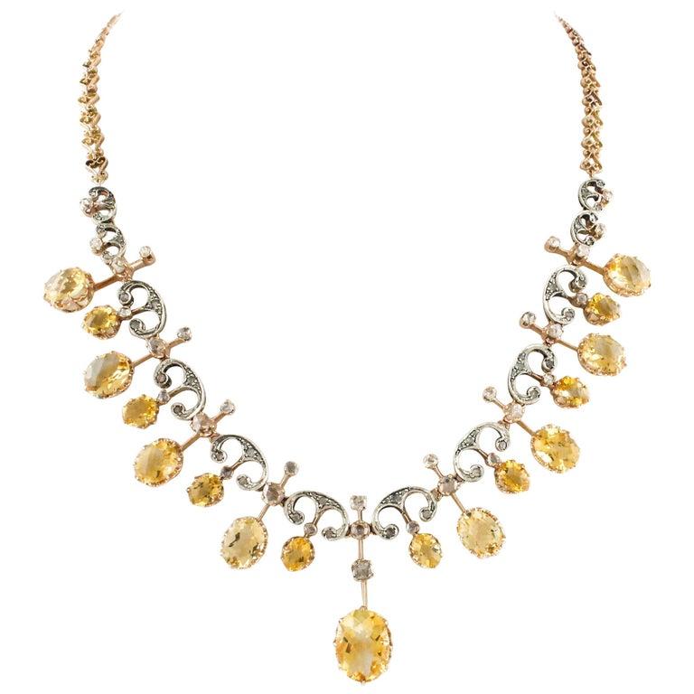 Antique Diamonds Yellow Topazes Rose Gold Choker Necklace