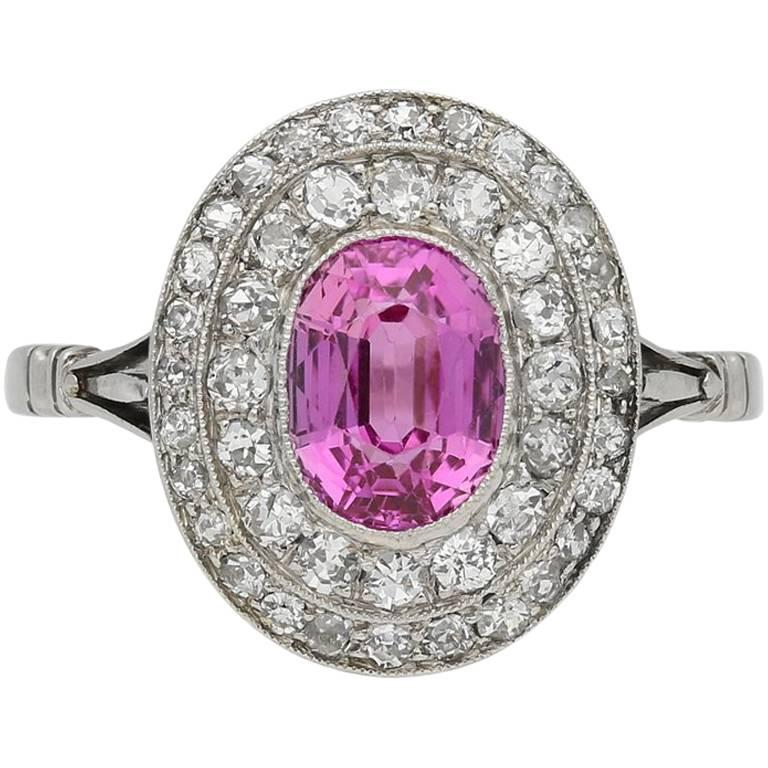 Edwardian Natural Pink Sapphire Double Row Coronet Cluster Ring For Sale