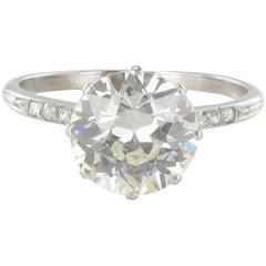 French 1920s 2.45 Carat Brilliant Cut Diamond Solitaire Platinum Ring