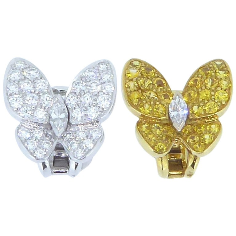 Van Cleef & Arpels Yellow Sapphire and Diamond and Gold Butterfly Earrings For Sale