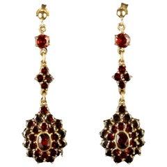 Antique Victorian Bohemian Garnet Gold Long Drop Earrings, circa 1900