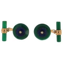 Set of Round Green Agate Yellow Gold Diamonds Cufflinks