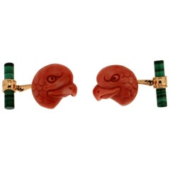 Coral Eagles Malachite Yellow Gold  18 karat Cufflinks
