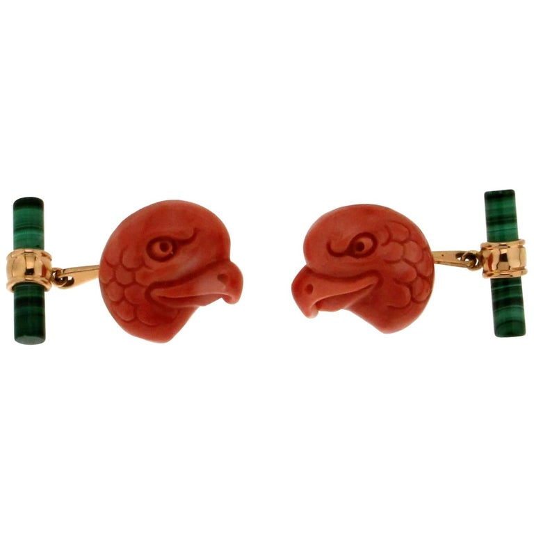 Coral Eagles Malachite Yellow Gold Cufflinks