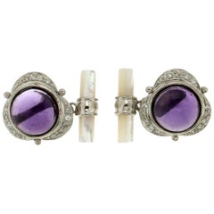 White Gold Amethyst Diamonds Mother-of-Pearl Cufflinks