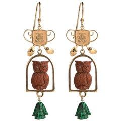 Couleurs de Géraldine Gold Diamond Malachite Owl Earrings