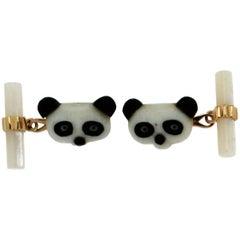Yellow Gold Panda Cufflinks