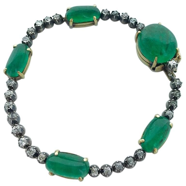Antique Cabochon Emerald Diamond Bracelet