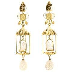 18k Gold Diamond Nuvory Vermeil Bird Cage Dangle Drop Earrings