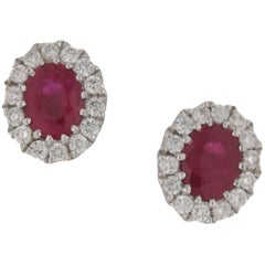 Ruby Diamond Oval Gold Cluster Stud Earrings