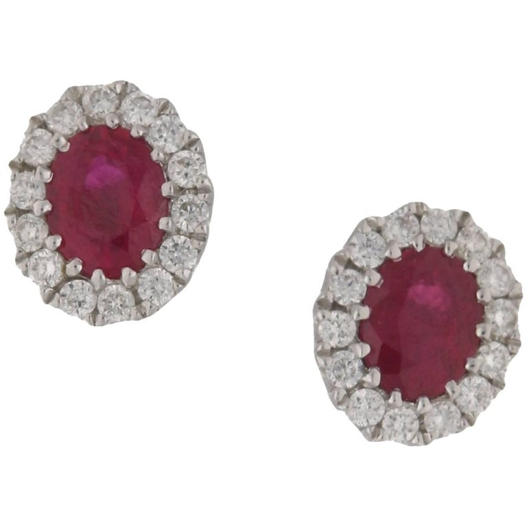 Ruby Diamond Oval Gold Cluster Stud Earrings