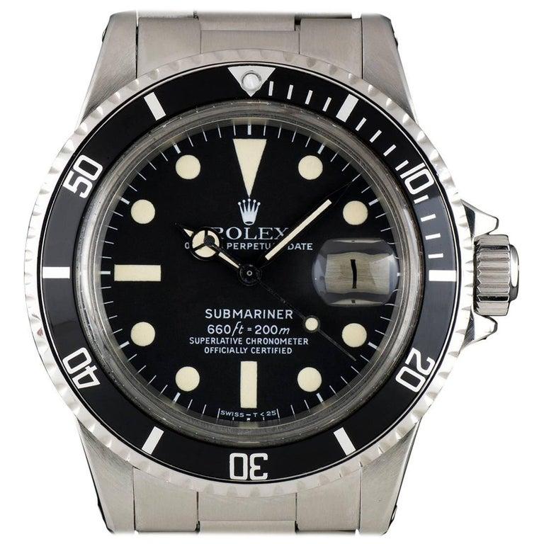 Rolex Submariner Date Vintage Gents Stainless Steel Matte Black Dial 1680