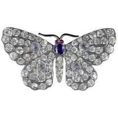 Antique Victorian Paste Tanzanite Garnet Butterfly Brooch, circa 1900