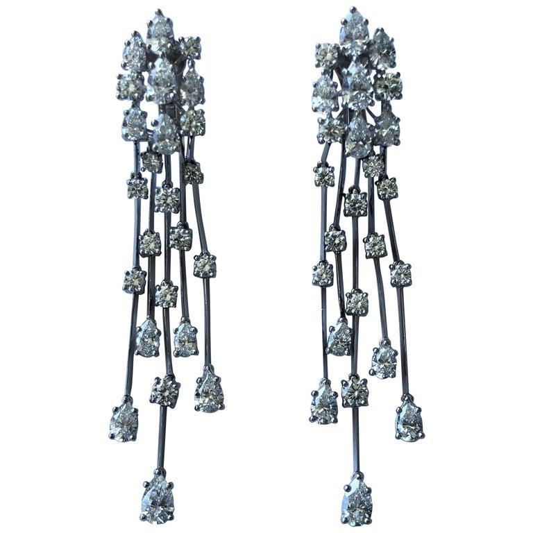 Graff Waterfall Diamond Platinum Earrings For Sale