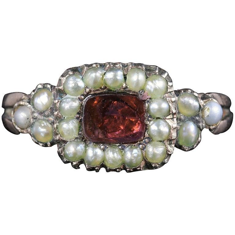 Antique Georgian Flat Cut Garnet Pearl Ring 18 Carat Gold, circa 1800