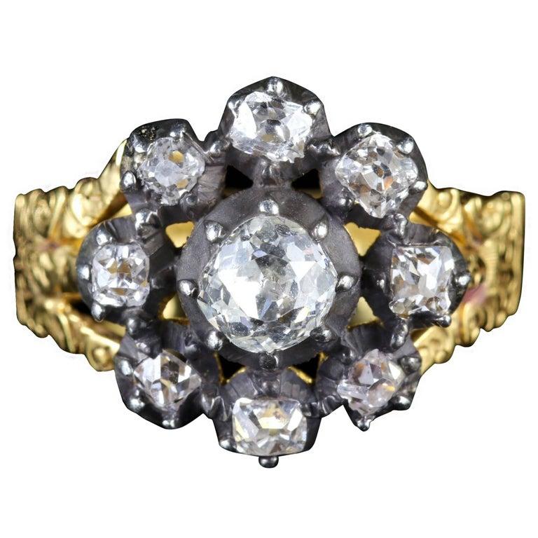 Antique Georgian 18 Carat Gold Diamond Cluster Ring, circa 1780
