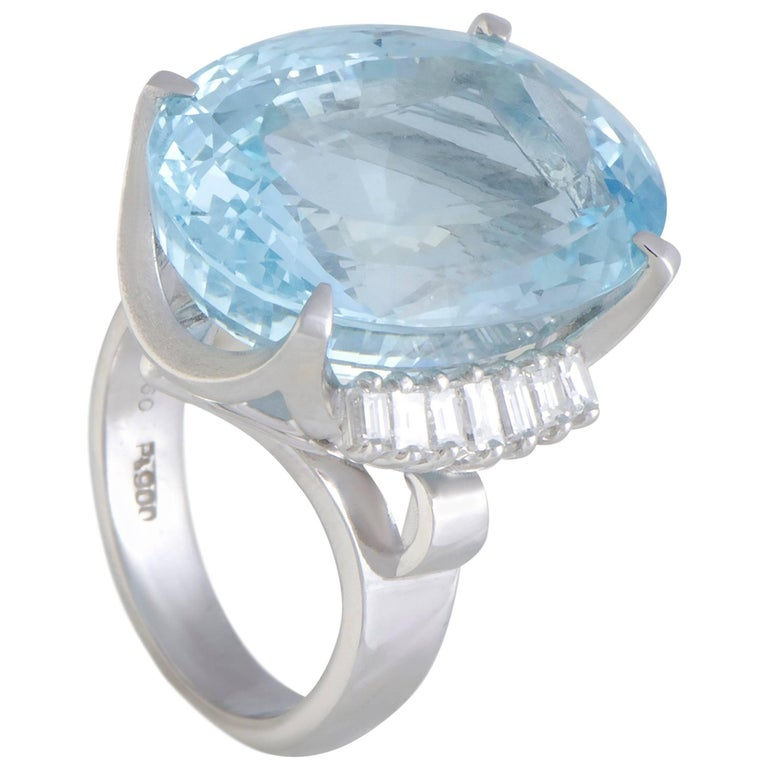 Diamond and Aquamarine Platinum Cocktail Ring
