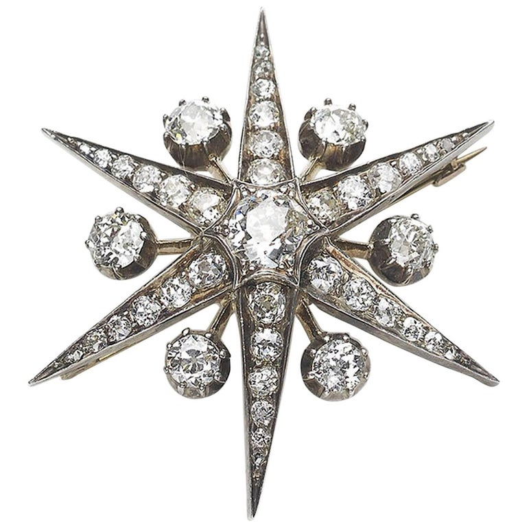 Antique Diamond Star Brooch 1