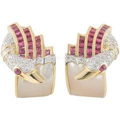 Ruby and Diamond Swan Earrings