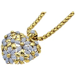Important Diamond and Gold Floral Puff Heart Opera Necklace