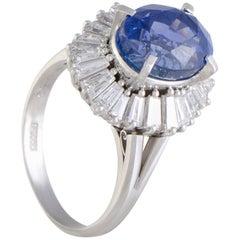 Diamond and Sapphire Platinum Ring