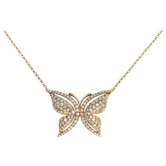 Diamond Butterfly Pendant Necklace in 18 Karat Rose Gold