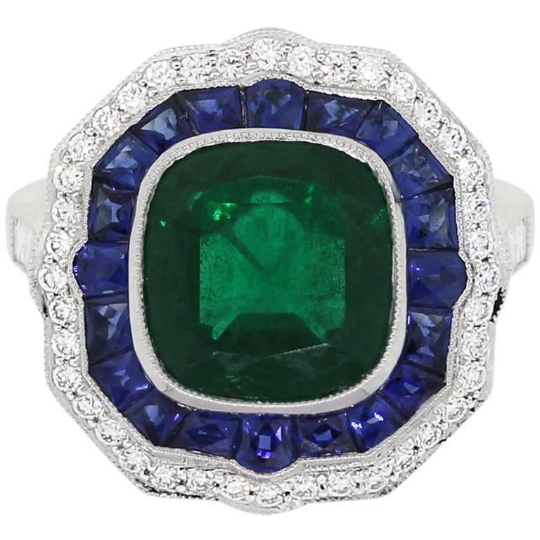 GIA Certified 3.33 Carat Untreated Emerald, Sapphire, and Diamond Cocktail Ring