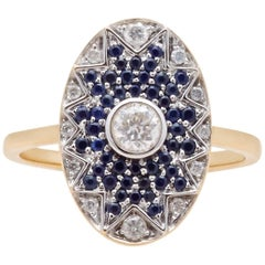 Yvonne Leon's Ring in 18 Karat Yellow Gold with Blue Sapphires and Diamonds