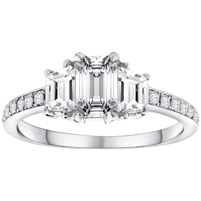 GIA Certified Emerald Cut Diamond Three-Stone Engagement Ring