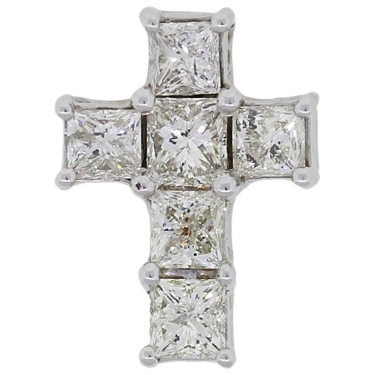 Princess Cut Diamond Cross Pendant