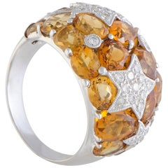 Diamond and Citrine Shooting Stars Gold Band Ring