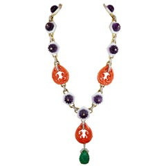David Webb Carved Amethyst, White Enamel, Coral, Diamond and Emerald Necklace