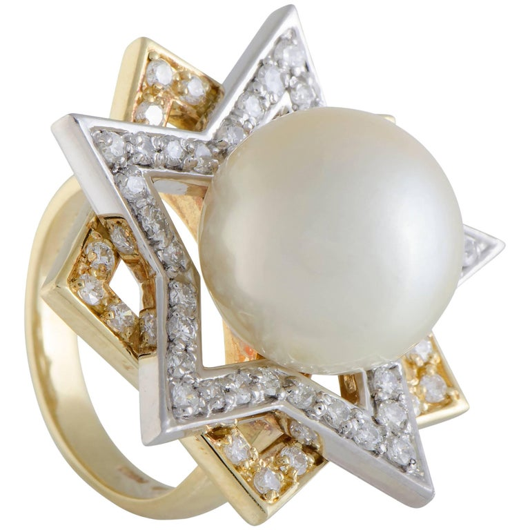 Diamond and Pearl Gold Cocktail Ring
