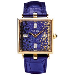 Sicis Aurora Micromosaic Diamond Gold Blue Watch