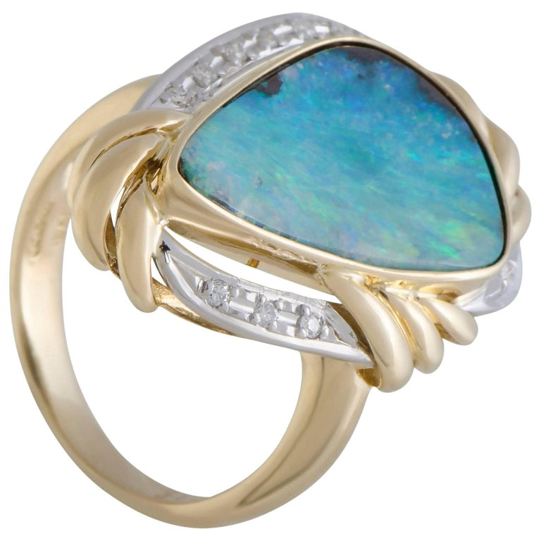 Diamond and Green Opal Gold Cocktail Ring