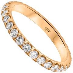 Round Diamond and Gold Eternity Wedding Band