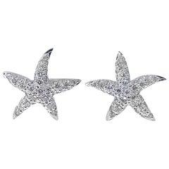 18 Karat White Gold and Diamond Starfish Earrings