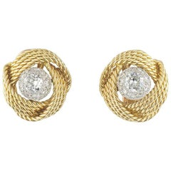 Vintage Boucheron Diamond Knot Earrings 3.00 carats