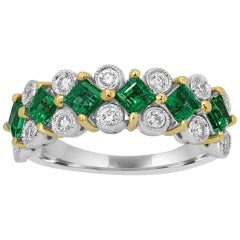 Emerald Square White Diamond Round Two-Color Gold Cocktail Fashion Band Ring
