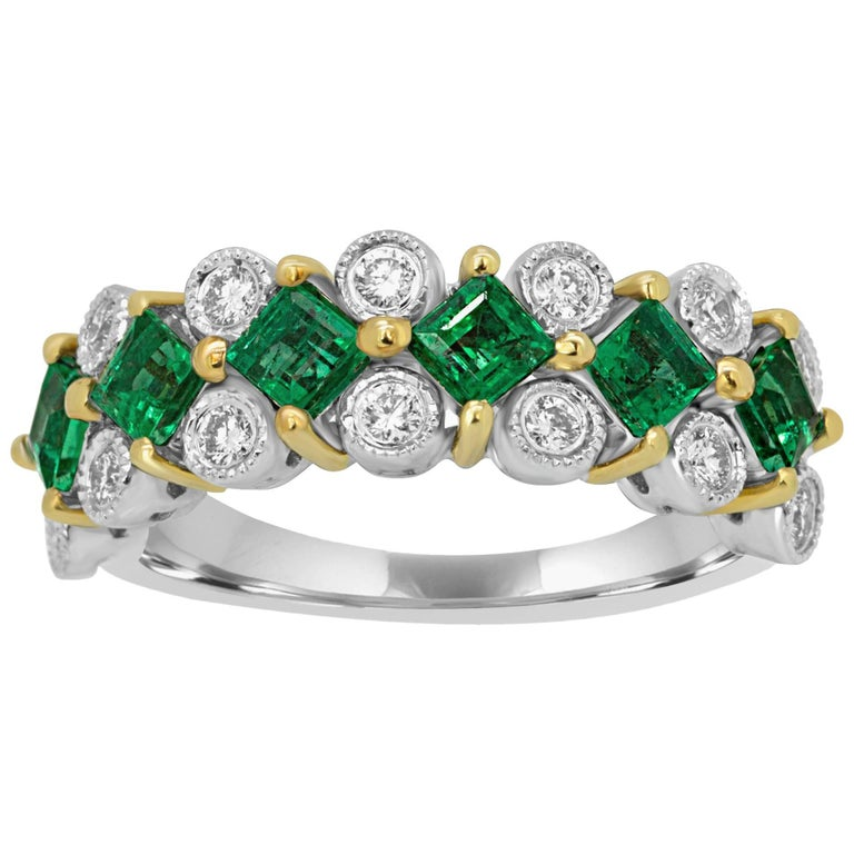 Emerald Diamond Two-Color Gold Band Ring