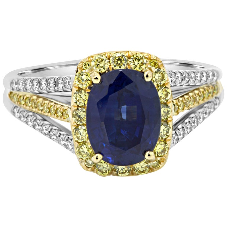 Blue Sapphire Diamond Halo Two-Color Gold Ring